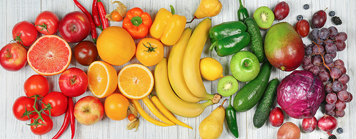 Fruits and vegetables in rainbow colors