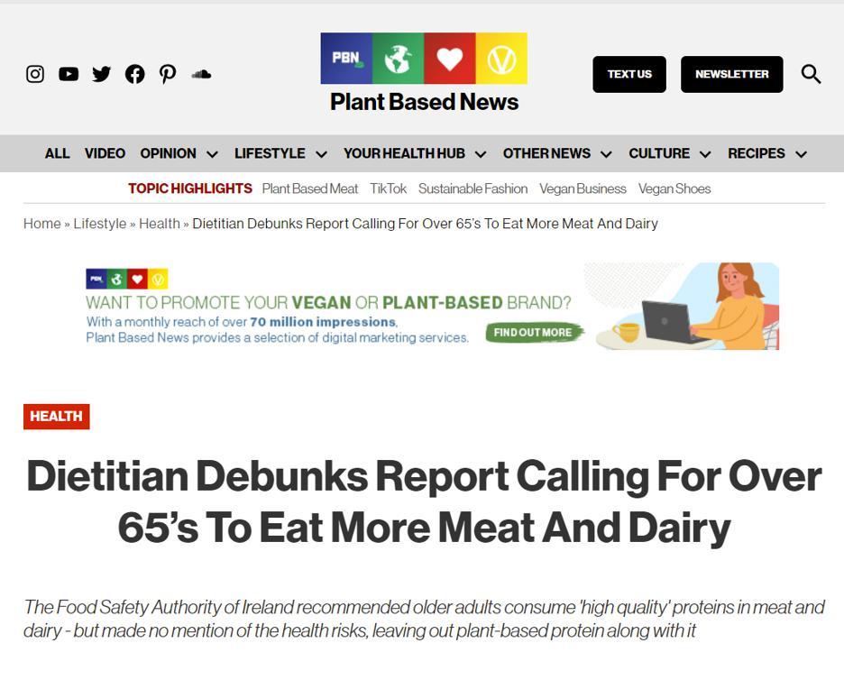 Article in Plant Based News